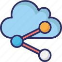 cloud share, cloud sharing, connection, share icon