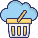 basket, cloud basket, cloud computing, shopping icon