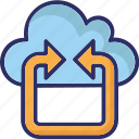 cloud, back arrow, cloud computing, cloud network