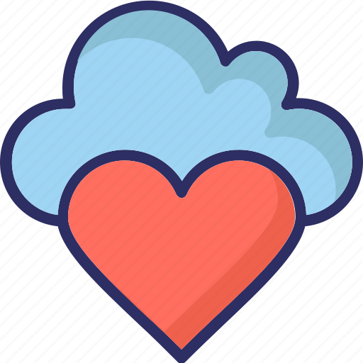 cloud computing, heart, online dating, online love icon