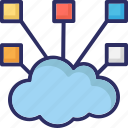 share, connection, cloud network, cloud computing, hierarchy