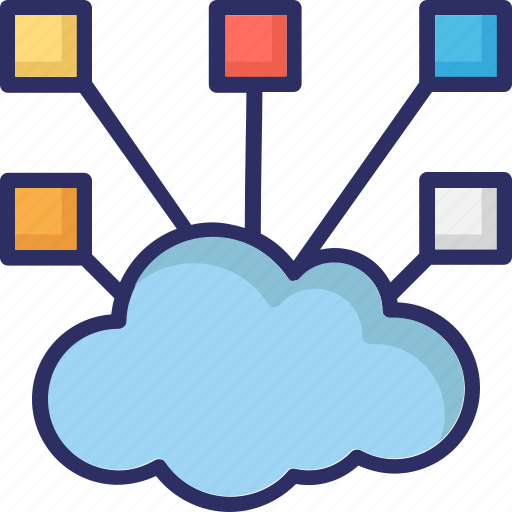cloud computing, cloud network, connection, hierarchy, share icon