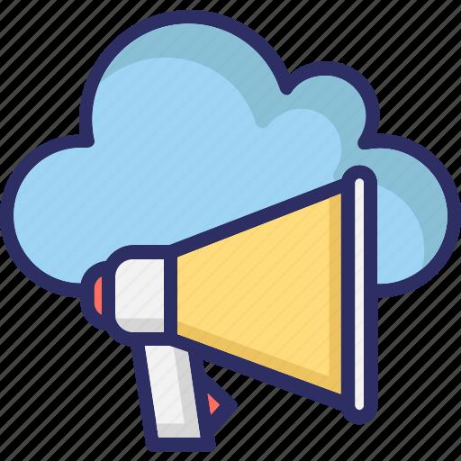 cloud computing, loudspeaker, megaphone, online advertising icon