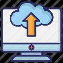 cloud data, cloud upload, tray, uploading icon