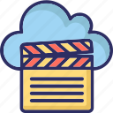 clapper, cloud computing, multimedia cloud, online multimedia icon