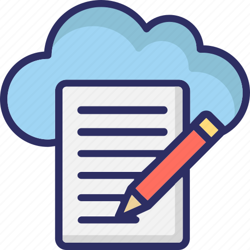 cloud article, cloud computing, cloud writing, drafting icon