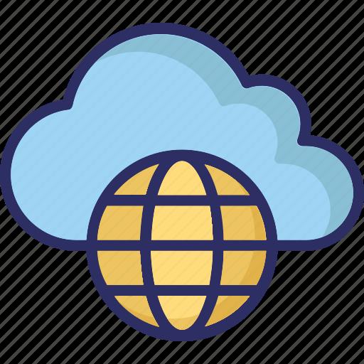 cloud network, global communication, wireless technology, worldwide network icon