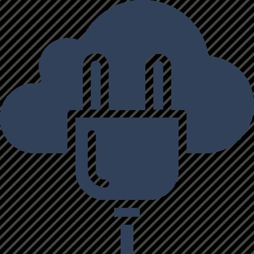 cloud computing, cloud hosting, internet connection, power plug icon