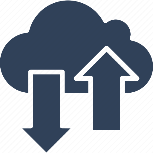 cloud arrows, data sharing, downloading, uploading icon