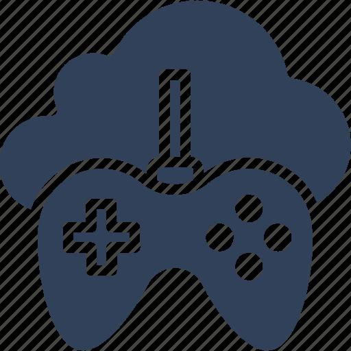 cloud computing, cloud gaming, gamepad, gaming on demand icon