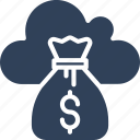 cloud dollar, cloud money, dollar sack, sack icon