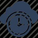 cloud clock, cloud computing, history, schedule icon