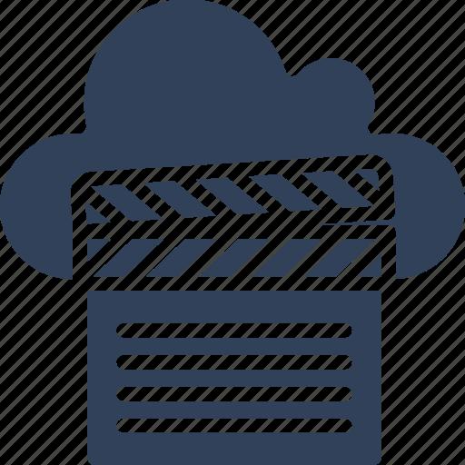clapper, cloud computing, multimedia cloud, online multimedia icon