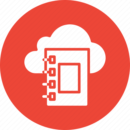 cloud computing, cloud dairy, diary, jotter icon