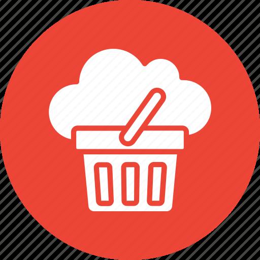 basket, cloud basket, cloud computing, shopping icon