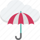 cloud computing, cloud network, network protection, network security, umbrella icon