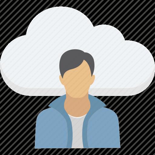 cloud computing, cloud user, data storage, storage cloud, user avatar icon