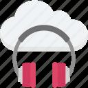 cloud music, headphone, online media, online multimedia, online music icon
