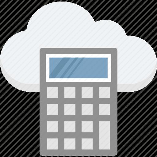 calculation, calculator, cloud calculator, finance, icloud icon
