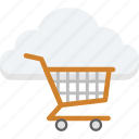 cloud cart, cloud trolley, shopping, shopping cart, shopping trolley icon
