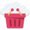 basket, cloud basket, cloud computing, shopping, shopping basket icon
