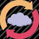 cloud, cloud sync, loading arrows, sync, synchronization icon