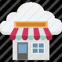 cloud computing, cloud shop, cloud store, ecommerce, eshop icon