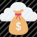 cash, cloud dollar, cloud money, dollar sack, sack icon