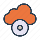 cd, cloud, disc, dvd, server icon