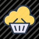 basket, cloud, database, server, trolley icon