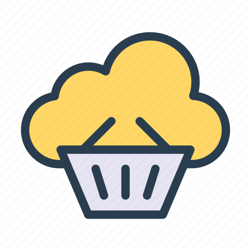 basket, cloud, database, server, trolley icon