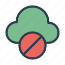 ban, block, cloud, server, stop icon