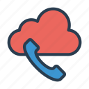 call, cloud, communicaton, phone, receiver icon
