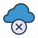 cloud, cross, database, delete, remove icon
