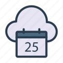 appointment, calendar, cloud, date, storage icon