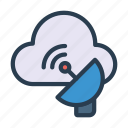 cloud, dish, satellite, signal, wireless icon