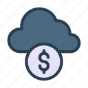 cash, cloud, dollar, money, server