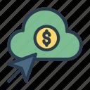 cash, click, cloud, dollar, pointer