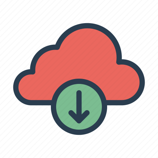 arrow, cloud, downlaod, server, storage icon