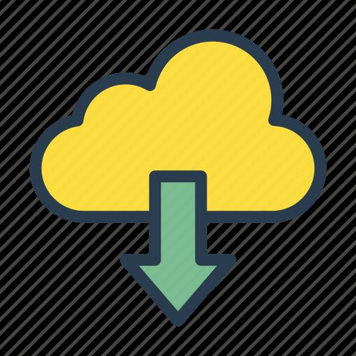 arrow, cloud, database, download, server icon