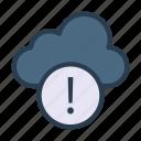 cloud, error, exclamation, notice, warning