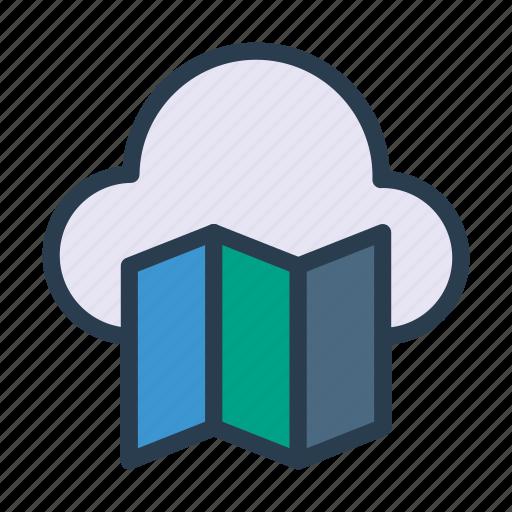 brochure, cloud, flyer, location, map icon