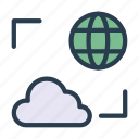 cloud, earth, global, server, storage icon