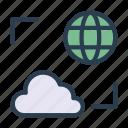 cloud, earth, global, server, storage
