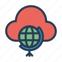 cloud, earth, global, server, world icon