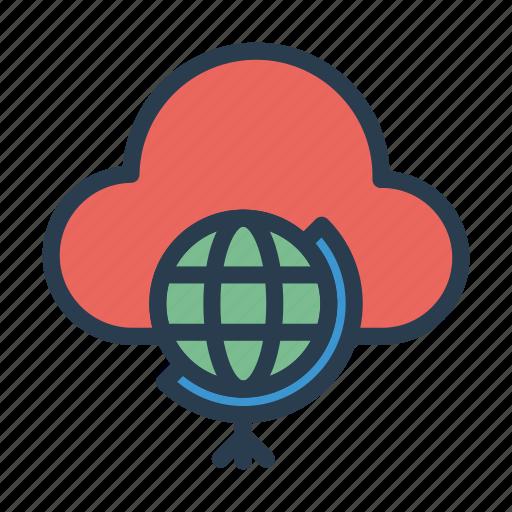 cloud, earth, global, server, world icon
