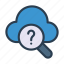 cloud, find, help, question, search icon