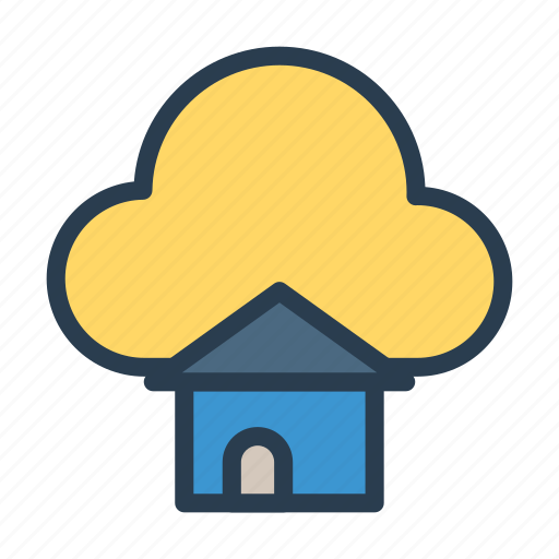 building, cloud, home, house, real icon