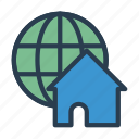 earth, global, home, house, world icon