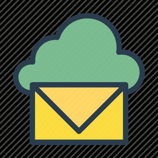 cloud, inbox, letter, mail, message icon